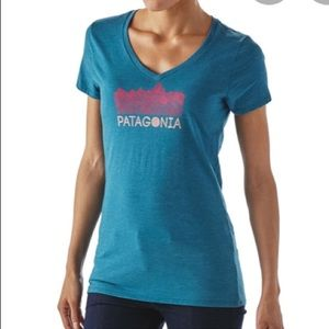 Patagonia v neck graphic tee size small